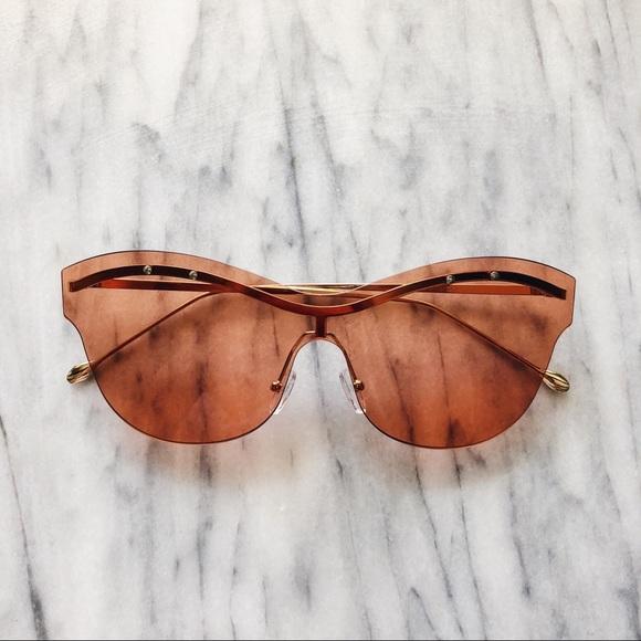 2b55ba34ed84 Anthropologie Accessories - Transparent Gold   Burnt Orange Sunglasses🍊
